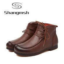 Shangmsh 2017 New Ankle Women Boots Genuine Leather Fashion Retro Handmade Shoes Comforable Shoes Footwear Female Flats