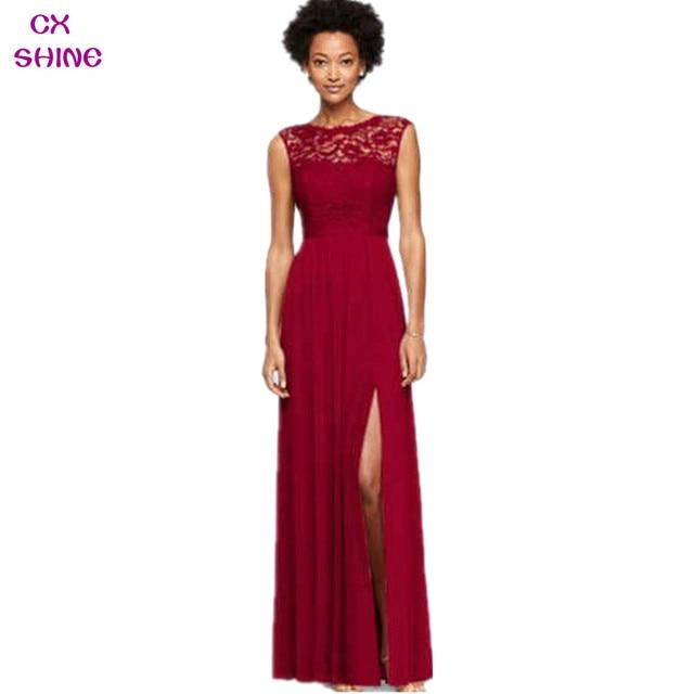 CX SHINE Lace Chiffon split long Bridesmaid Dresses burgundy Wine ...