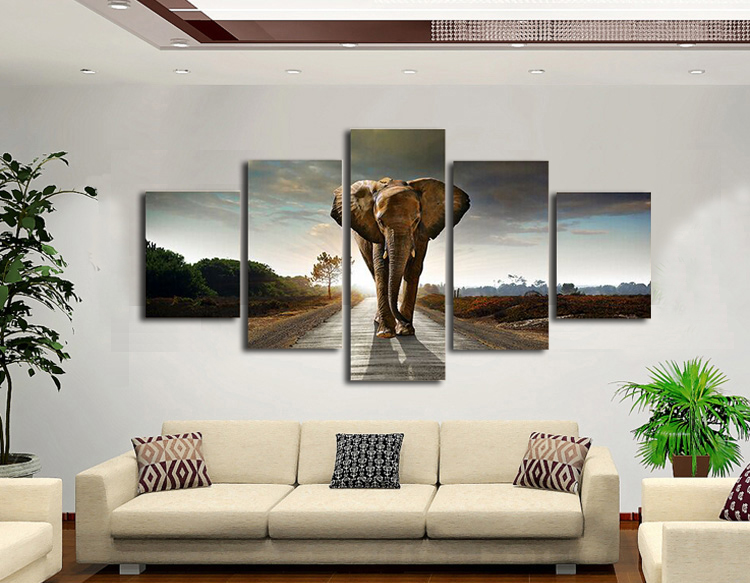 wall portraits living rooms. 5 Panels Elephant Large Canvas Painting Pictures for Living Room  Wall Sale Art Cheap in Calligraphy from Home