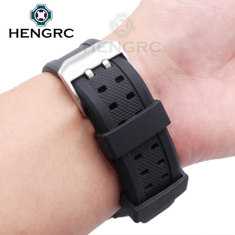 HENGRC 23mm Silicone Watch Strap Men Black Sport Diving Rubber Watchbands Stainless Steel Black Buckle Accessories in Watchbands from Watches