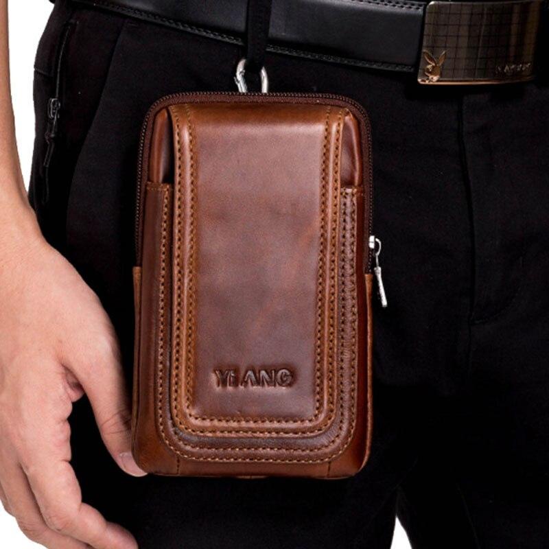 Men Bag Genuine Leather Belt Hook Waist Shoulder Bags Purse Riding Hip Bum 4-6