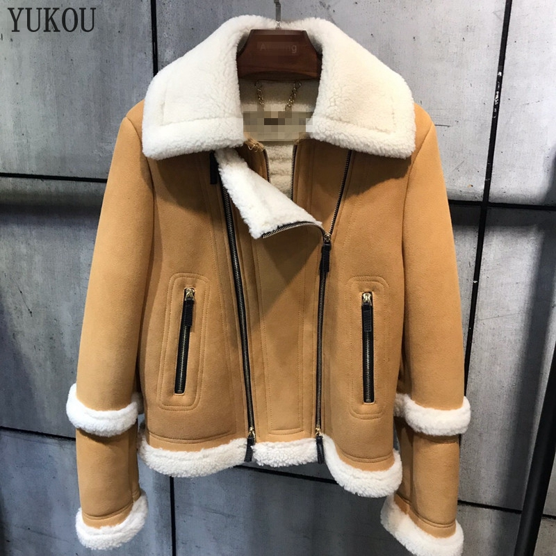 Mérinos Mode Double Manteau Mouton En Femmes De face Fourrure Laine Moto D'hiver Réel Peau 2018 Et Moutons Épais Chaud thCsQdr