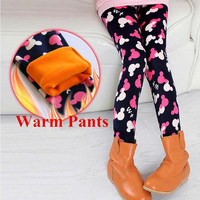 2016 Winter Girl Leggings Velvet Thicken Warm Leopard Print Girl Pants Kids Children Pants Winter Girl