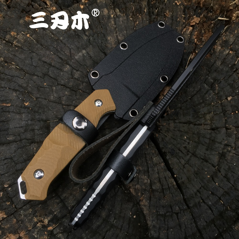 Sanrenmu S718 Fixed Blade Knife With K Sheath 12C27 Blade outdoor camping utility survival tactical hunting knife EDC Tool  CSGO