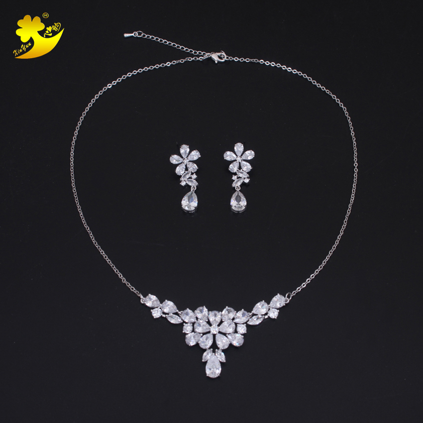 XinYun New AAA Zircon Women Jewelry Water Drop Necklace Flower Earring Pendant Wedding Accessory On Party Girls Birthday Gift
