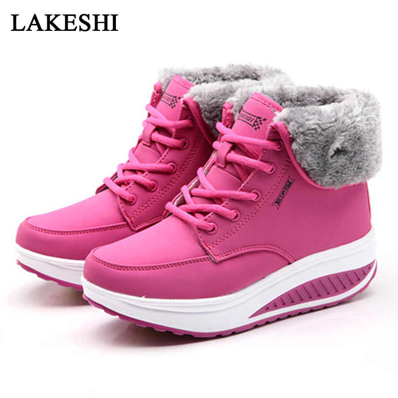 Women Boots New Winter Velvet Shoes Warm Snow Fur Ankle Boots For Women Lace Up Heel boots Sneaker Women Winter Casual Shoes