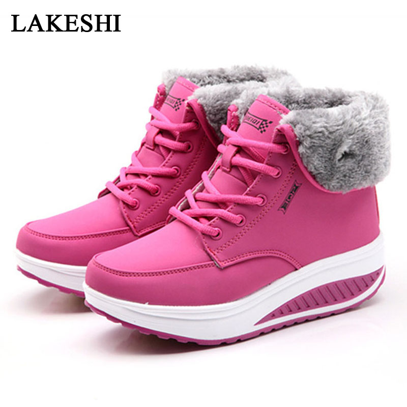 Women Boots New Winter Velvet Shoes Warm Snow Fur Ankle Boots For Women Lace Up Heel boots Sneaker Women Winter Casual Shoes yaerni new 2017 women winter ankle boots handmade velvet flat with boots shoe comfortable casual shoes women snow boots