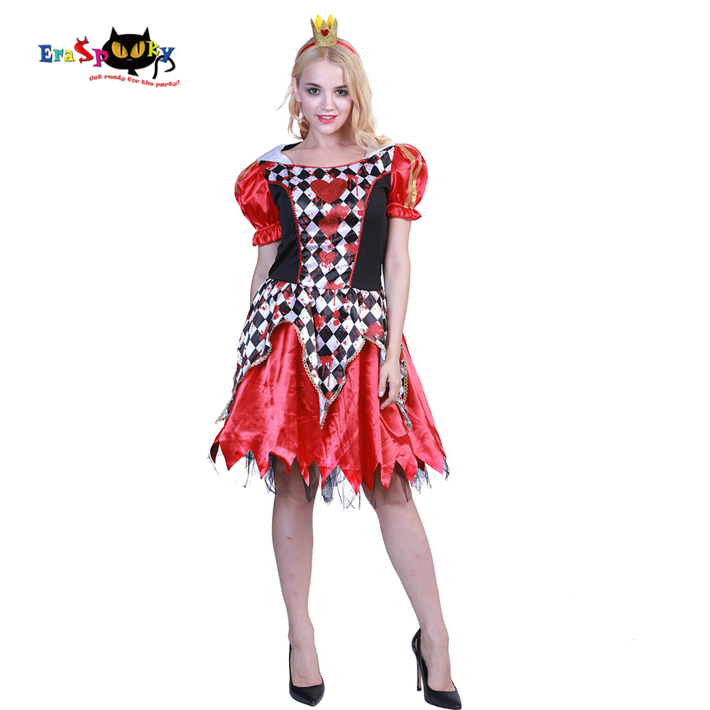 Eraspooky Halloween Costume For Women Fancy Dress And Headband Set Scary Women Costume Sexy Bloody Queen Of Hearts Cosplay