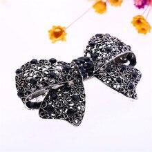 New Trendy Version Alloy Hairpins for Female Women's Diamond Cute Black Bow Hair Accessories Hair Clip Ornaments Barrettes