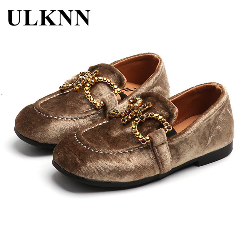 ULKNN Kids Loafers Shoes Girls Flat Moccasins Children Boys New Fashion Prince Loafers Casual Shoes School Party Fur Shoe 2018