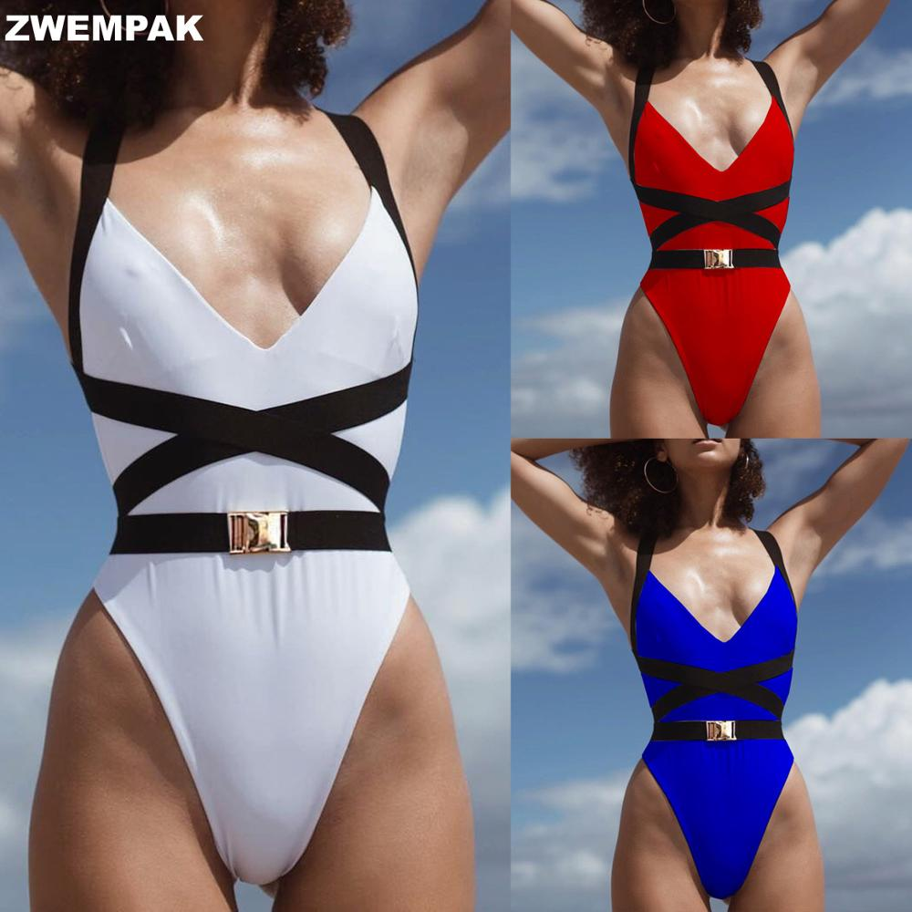 Splice Buckle Belt Bandage Cross Bikini Mujer Monokini Sexy V Neck Swimsuit One Piece High Leg Swimwear For Women Beachwear Body Suits  - AliExpress