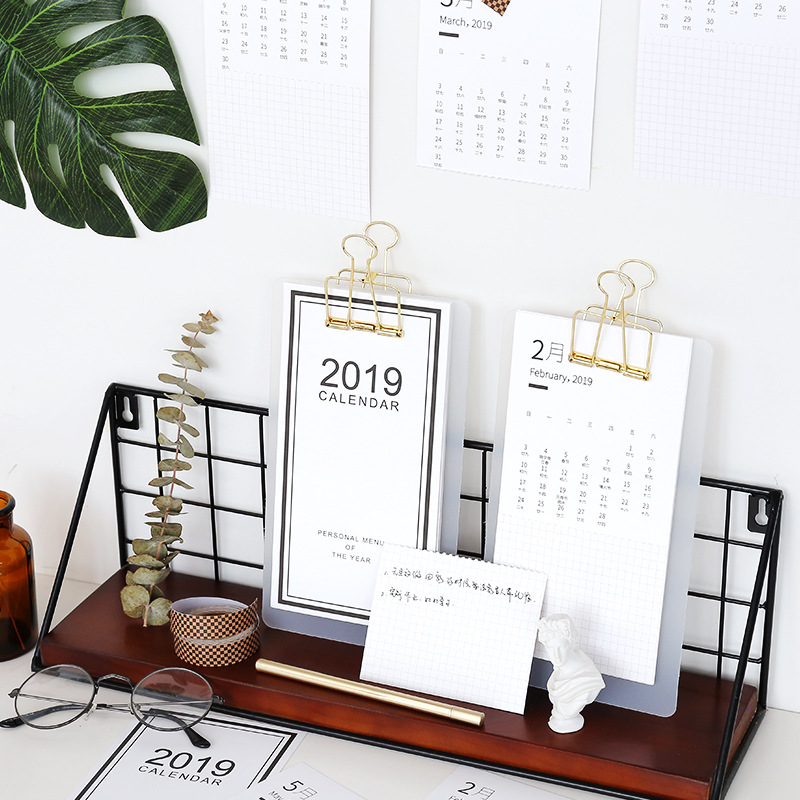 Smart Creative Simple 2019 Menu Calendar Table Desktop Calendar Agenda Organizer Daily Schedule Planner 2018.07~2019.12 Fixing Prices According To Quality Of Products Calendars, Planners & Cards Calendar
