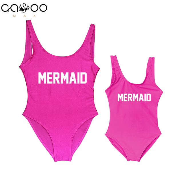 96a87411aef68 2019 Mother and Daughter Children Mermaid Letter Print One Piece Swimsuit  Mommy&Babe Swimwear Mom Kid Bathing Suits Bikini Women