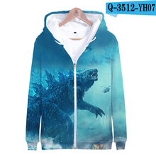 Godzilla Movie Hoodie King Of The Monster Print Sweatshirt Pullover Zip Up Cotton 3D Jacket Printed Hoodie Film Hoodies Zipper недорого