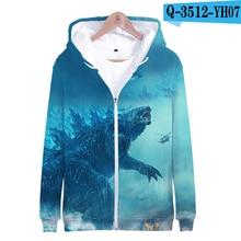 Godzilla Movie Hoodie King Of The Monster Print Sweatshirt Pullover Zip Up Cotton 3D Jacket Printed Hoodie Film Hoodies Zipper zip up chain print drawstring hoodie