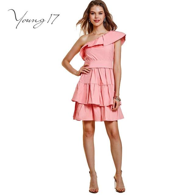 huge selection of 84875 b0981 US $19.98 |Young17 elegante abito rosa backless pullover manica corta a  pieghe di bellezza elegante femmina vestito da partito senza bretelle sexy  ...