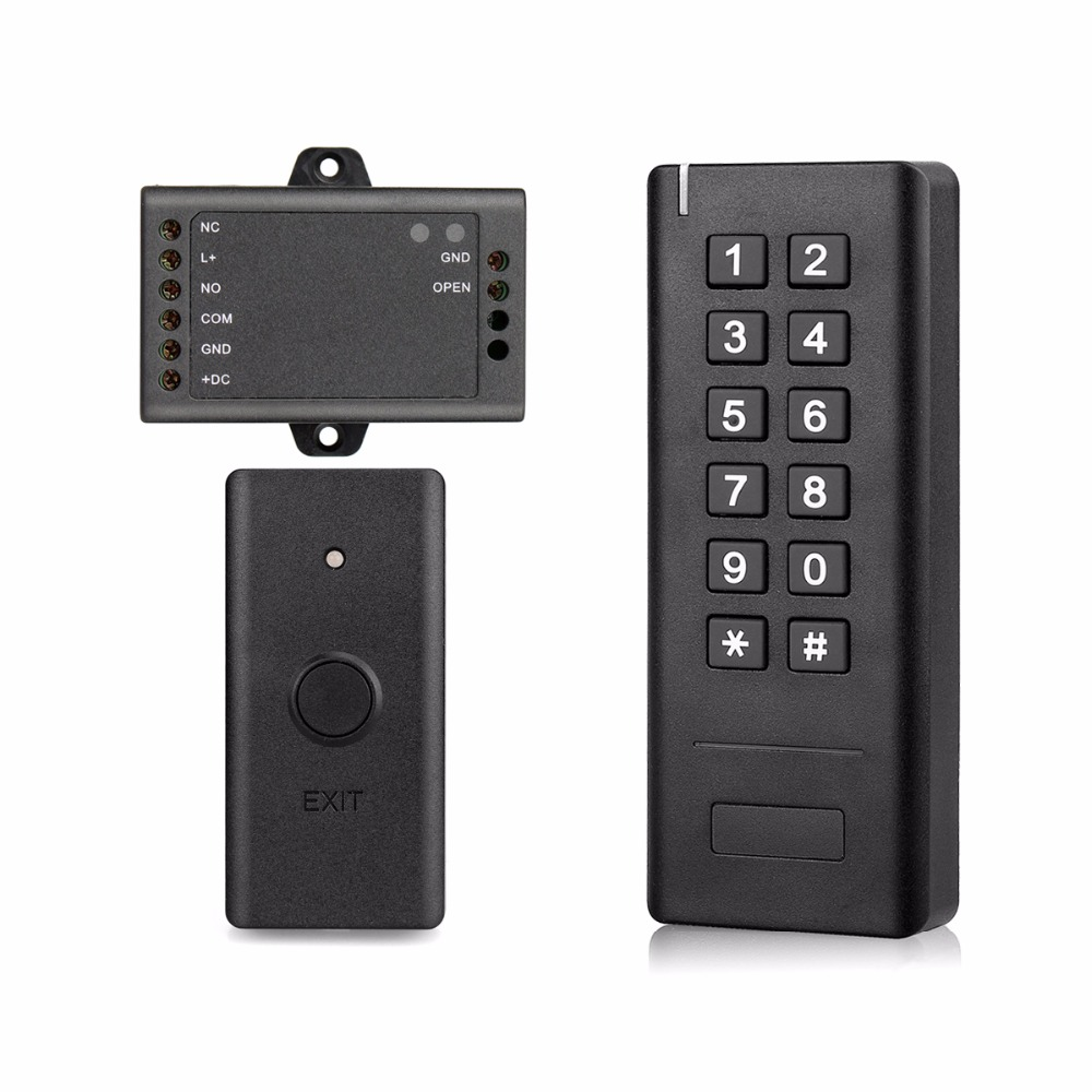 Wireless Access Control System with 2.4G Wireless Keypad + Min Controller + Wireless Exit Button Door Access Control F1422A 2 receivers 60 buzzers wireless restaurant buzzer caller table call calling button waiter pager system