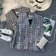 Loose Plaid Vest vest Women Spring and Autumn 2019 New Small Fragrance Joker outside wearing sleeveless jacket
