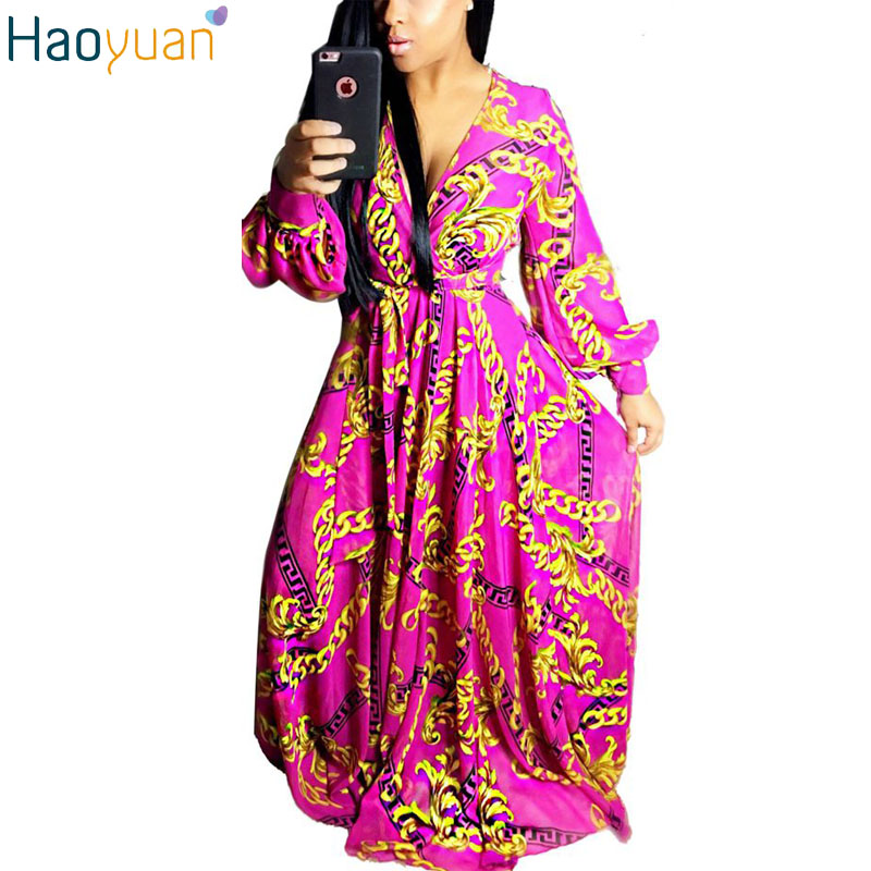 HAOYUAN Autumn Fashion Vintage Maxi Dresses Robe Long Sleeve Dashiki Gold Printed Large Swing Dress Women Elegant Party Dresses