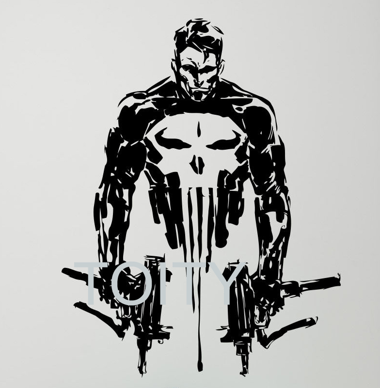 Punisher wall vinyl decal skull guns poster creative sticker punisher wall vinyl decal skull guns poster creative sticker comics superhero teen room club home interior decor removable mural in wall stickers from home publicscrutiny Gallery