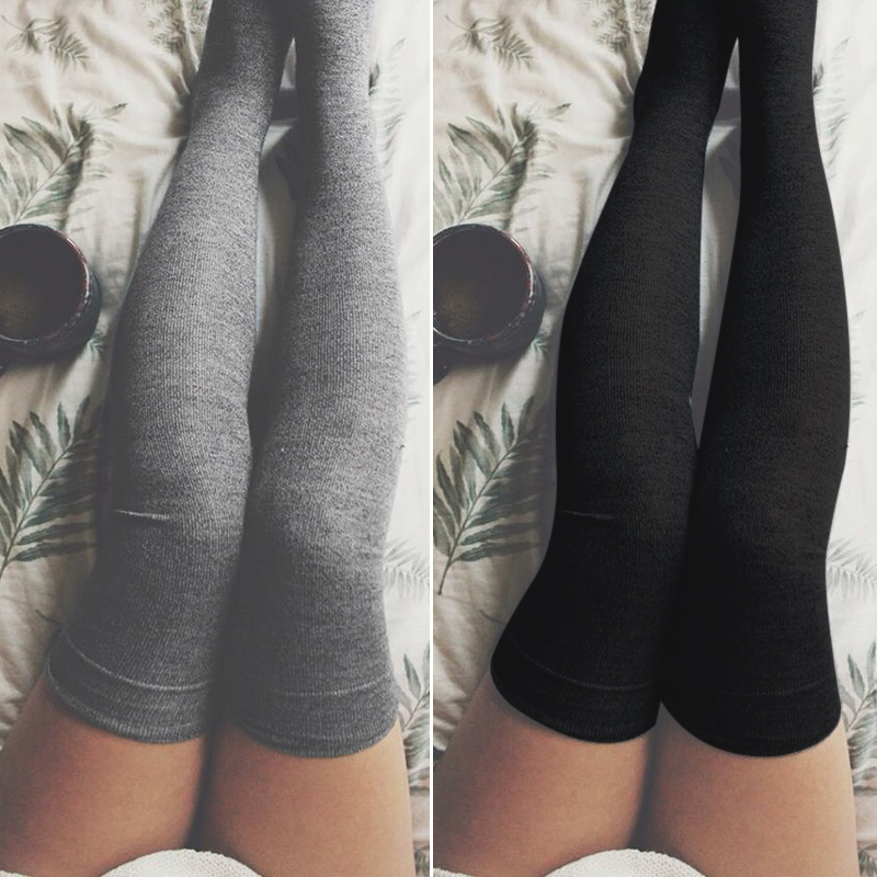8e106e6bcbf Sexy Women Stockings Cotton Over Knee Socks 2018 Autumn Winter Warm Thigh  High Long Socks Fashion Girls Black Stocking Medias