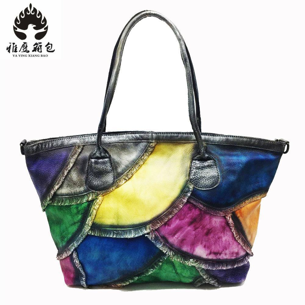 Women Tote Bag Genuine Leather Patchwork Casual Hand Bags Big Capacity Woman Shoulder Bag Large Ladies Shopping Bags 2018 women crocodile pattern handbag fashion casual tote large shoulder bags ladies brand genuine leather shopping bag gift hand bag