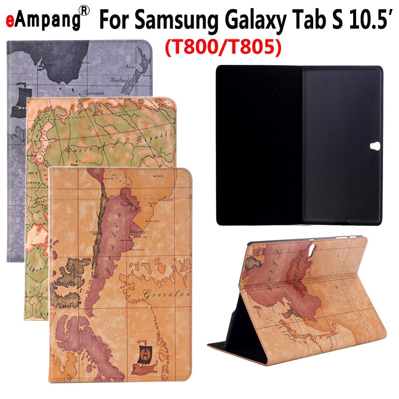 Map Leather Case for Samsung Galaxy Tab S 10.5 SM-T800 T800 T805 Smart Case Cover Funda Tablet Slim Flip Stand Card Slot Shell srjtek 10 5 for samsung galaxy tab s t800 t805 sm t800 sm t805 touch screen digitizer sensor glass tablet replacement parts
