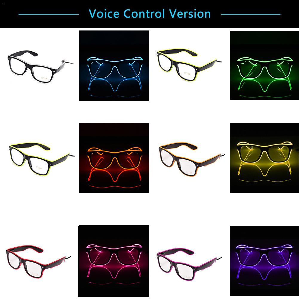 Upgraded Voice Control LED Glasses Dance Decorations EL Fashionable Neon Cold Luminous Glasses Bar Party Gifts Atmosphere Props