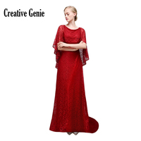 2018 Long Red Bridesmaid Dresses Solid Short Sleeve Plus Size Prom Vintage Women Lace Long Dresses For Wedding Party CG1889