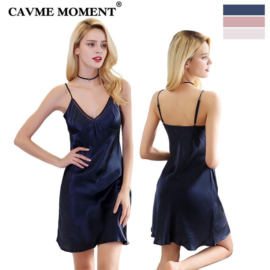 CAVME 2019 Luxury SILK Spaghetti Strap Nightgowns Sexy Sleepshirts One Piece Elegant Nightdressing Navy Pink White Sleepwear