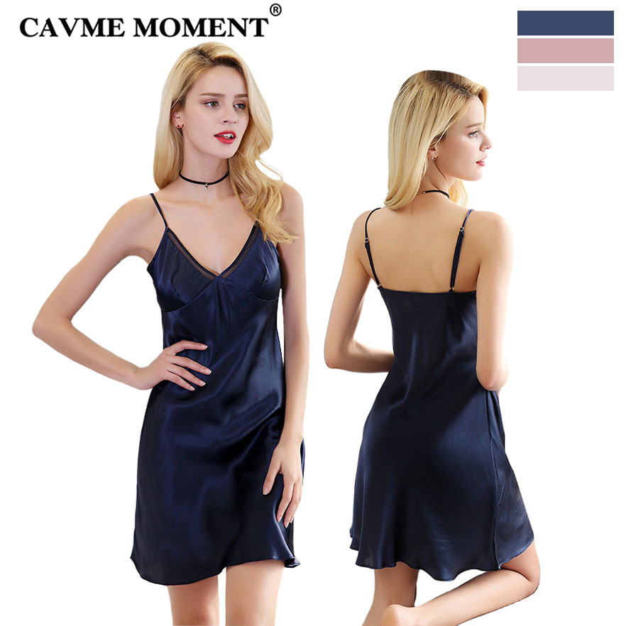 CAVME 2019 Luxury SILK Spaghetti Strap   Nightgowns   Sexy   Sleepshirts   One Piece Elegant Nightdressing Navy Pink White Sleepwear