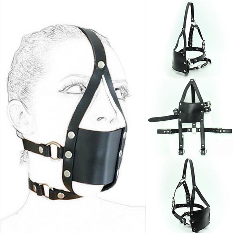 CamaTech Silicone Mouth Ball Bondage Restraints PU Leather Open Mouth Gag Head Harness Fetish Mask With Oral Fixation Adult Game
