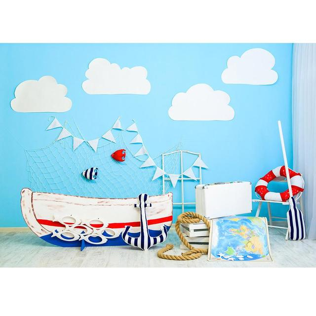 Sailing Boat Map Newborn Baby Photography Backdrops Photographic Studio Vinyl Cloth Photo Background Birthday Decorations Prop