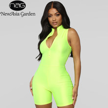 NewAsia Glossy Neon Green Jumpsuit Women Pink Summer Jumpsuits Biker Shorts Sexy Zipper Turtleneck Playsuit Active Wear Overalls(China)