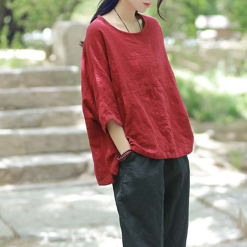 Plus size Cotton Linen Women Summer Blouse Shirt Oversized Solid White Purple Red Loose Causal Blouse Shirt New Tops Femme C113