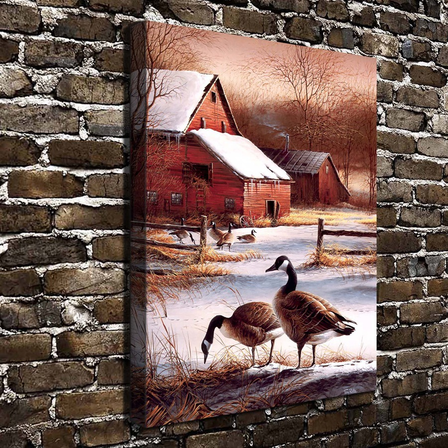 A755 Terry Redlin Winter Haven Animal Scenery. HD Canvas Print Home decoration Living Room bedroom Wall pictures Art painting