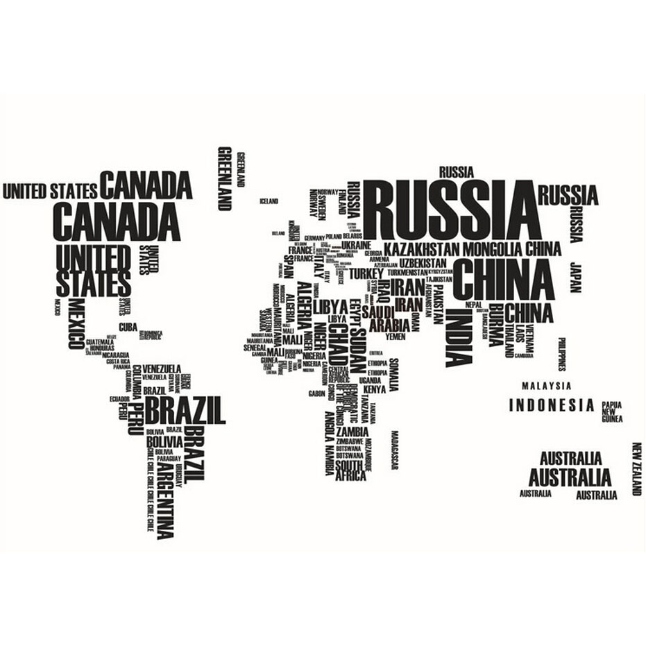 Black Letters World Map Removable Vinyl Decal Art Mural Wall PAPER map of the world removable pvc decal wall sticker home decor