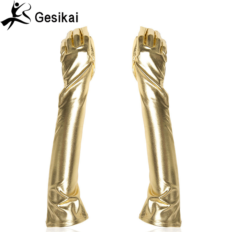 "Fancy Womens Metallic Gloves 22"" Long Sleeves Cosplay Costumes Lady Opera Dancing Evening Gloves"