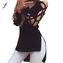 Stylish Deep V Hollow Cut Out Sleeve Sexy Women T Shirts Short Front And Long Back Tops Tees Split Cool Women T shirt