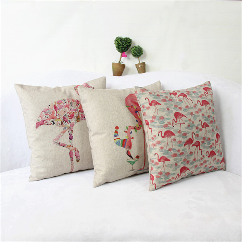 Pillow Case Cushion Cover Flamingo Cotton Linen Woven Sofa Bedroom Chair Seat 18x18 inches Throw ...
