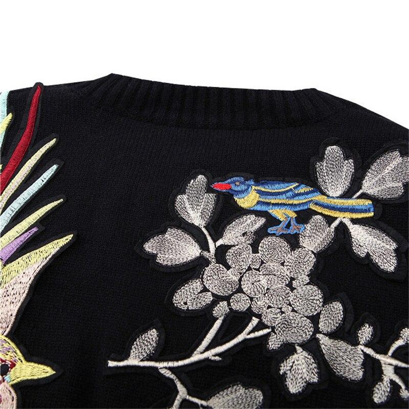 Les Chandail Qualité Tricoté Motif Laine D'hiver Pulls Haute Brid Noir 50 Épais Pour Broderie Vintage Femmes Chaud Lâche Fleur XfqdwC