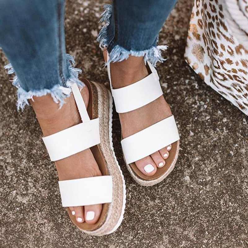 2019 Women Sandals New Platform Sandals With Wedges Shoes For Women Summer Chaussures Femme Leather Chunky Heels Sandalias Mujer