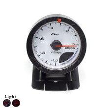 Free Shipping 60mm Car Vacuum Gauge Black Shell (-1~0) Vacuum Meter with Red & White Lighting Car Clock Auto Gauge Meter