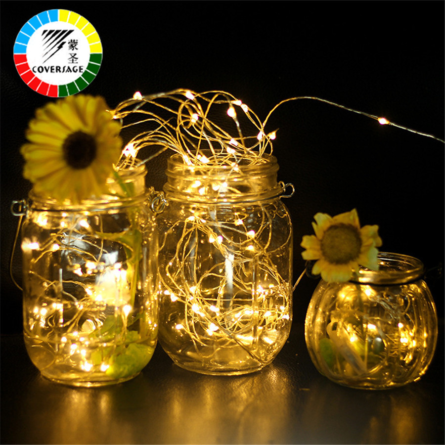 Coversage 5M 50 Leds Copper Wire Christmas Tree Decoration Xmas Garland Fairy Battery Lights