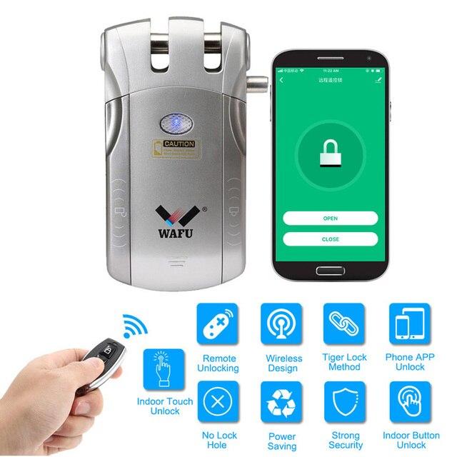 Wafu 010 ワットワイヤレス wifi スマートドアロック電子ドアロックアプリでリモートロック解除 4 リモートキー