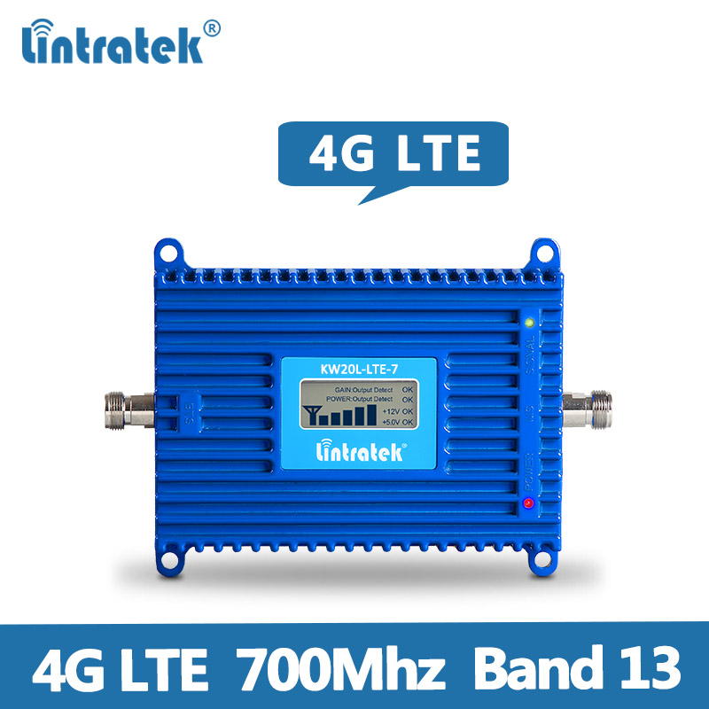 Lintratek 4G Signal Booster 70dB 4G LTE 700Mhz AGC Signal Booster Repeater B13 (700 LTE) Mobile Signal Repeater With Lcd Display