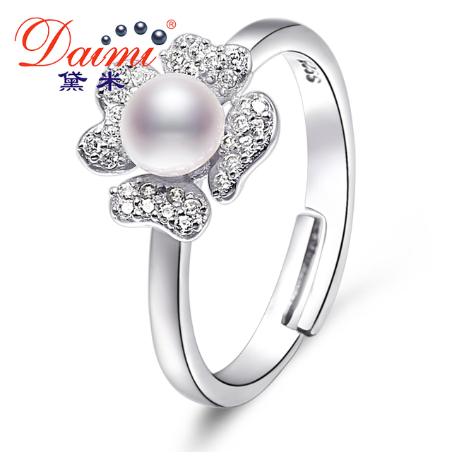 DAIMI 5-6MM White Freshwater Pearl Flower Ring For Women Natural Pearl Ring