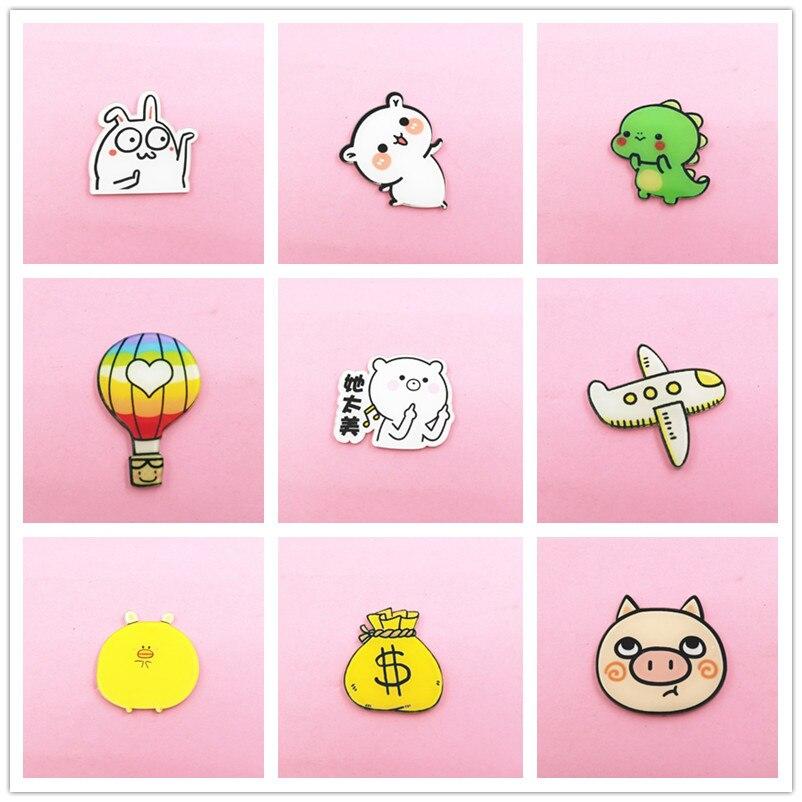 10PCS Anime Aircraft Dinosaur Badges Cartoon Icons On Backpacks Acrylic Badge Kawaii Pins For Clothes Plastic Brooch