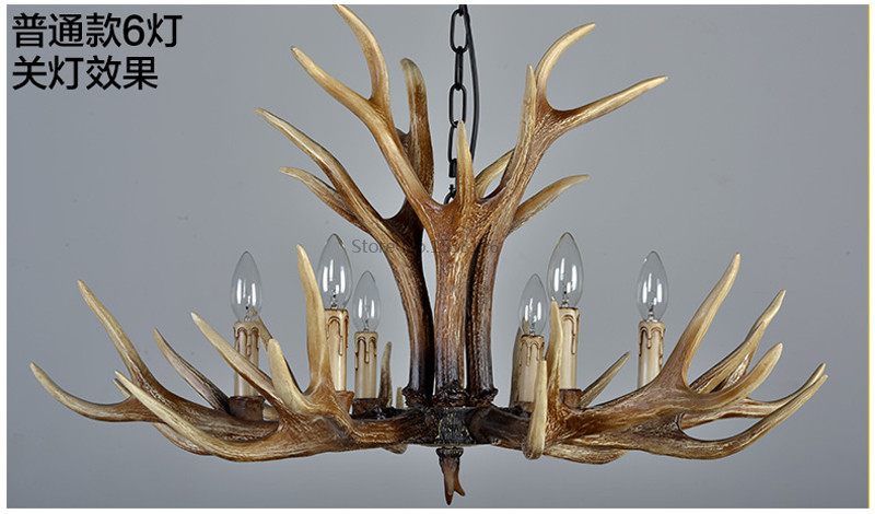 American E14 6 8 10 Heads Europe Deer Horn Antler Pendant Lamp Resin Antler Lampshade Parlor Hall Decor Suspension Luminaire8