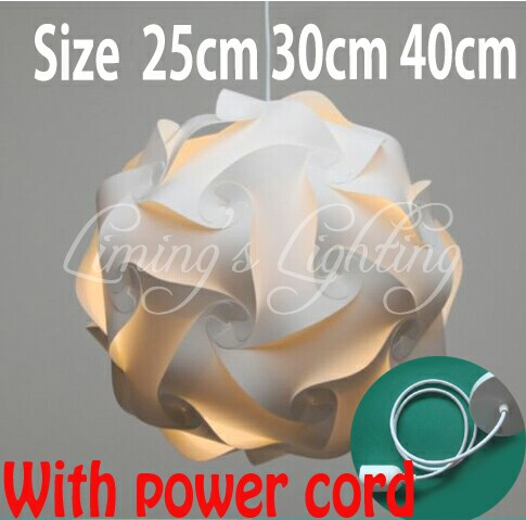 White DIY Modern Ball Novelty IQ Jigsaw Lamp Puzzles Pendant Light + Power Cord and E27 Holder,Dia 25cm/30cm/40cm free shipping visual communication spotlights for exhibition and trade fairs 40cm long arm and 30cm extra height